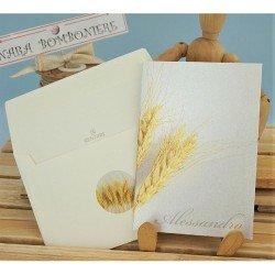 Partecipazione con spiga di grano per comunione