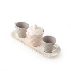 Hervit Bomboniere Tazzine in porcellana set con zuccheriera e vassoio