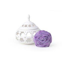 Contenitore in porcellana traforata di Hervit con spugna a forma di rosa