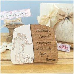 Bomboniere Italiane per Matrimonio targa in pietra con sposini personalizzata vista panoramica con scatola 20191