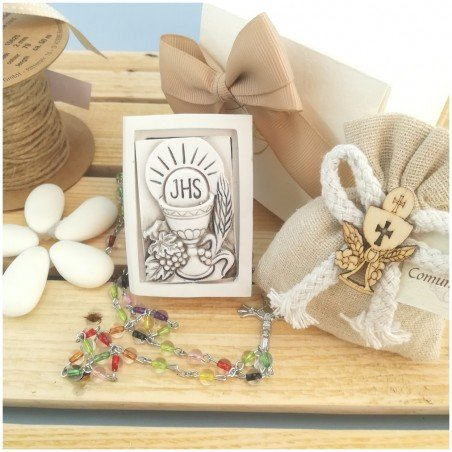 Vangelo scatolina porta Rosario in pietra ricomposta