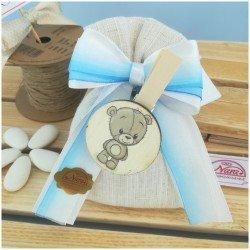 Sacchetti portaconfetti con orsetto azzurro