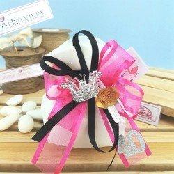 Sacchettino portaconfetti con corona da principessa