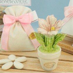 Bomboniere in capodimonte Vasetto con Orchidea