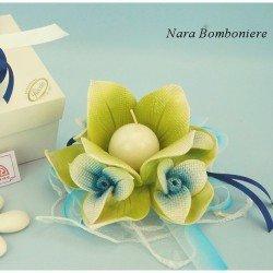 Bugia porta candela fiore di Dalia in ceramica di Capodimonte