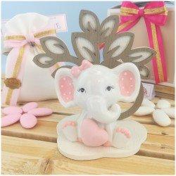 Elefantino rosa in porcellana con Albero della vita