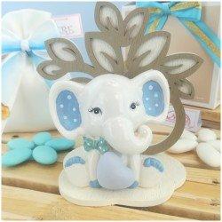 Elefante azzurro in porcellana con Albero della vita panorama